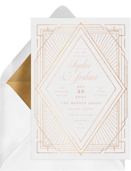 Art Deco Diamond winter wedding invitations from Greenvelope