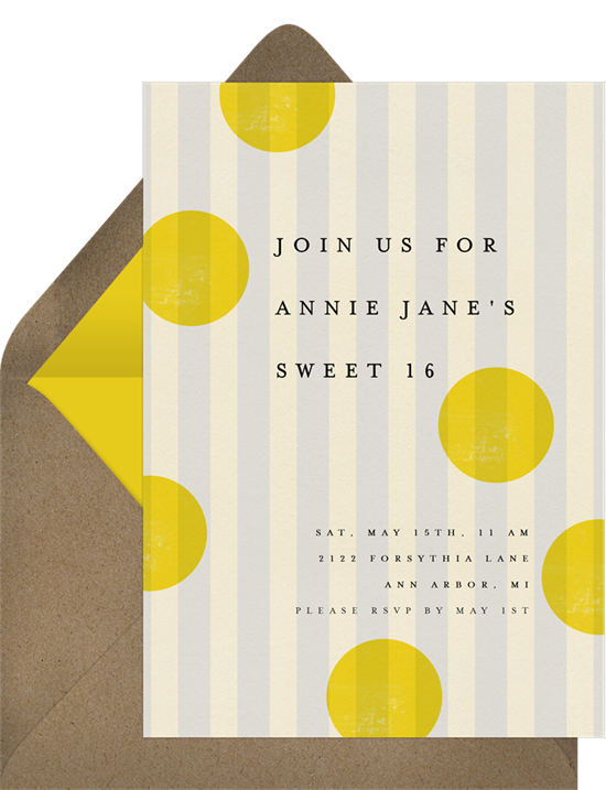 Sweet 16 invitations: the French Stripes invitation design from Greenvelope