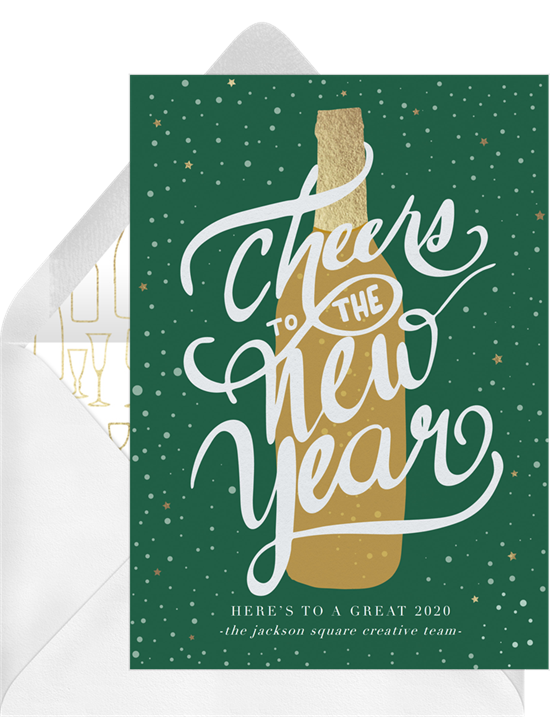 New Year's Cheers card with space to write a funny happy New Year message