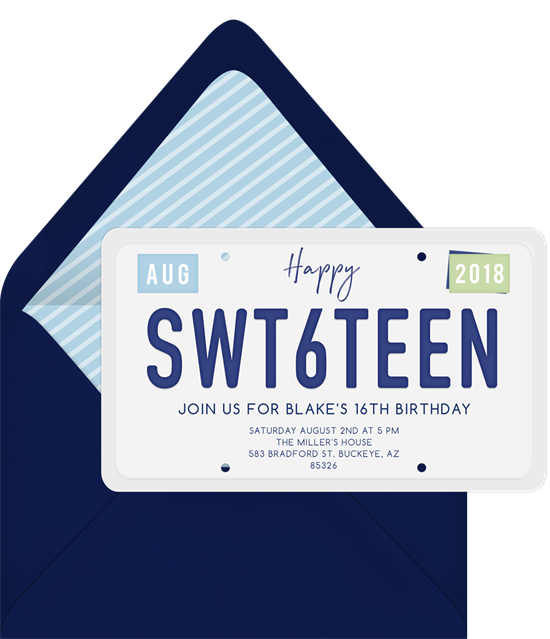 Sweet 16 invitations: the SWT6TEEN invitation design from Greenvelope
