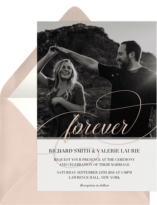 How to address wedding invitations: the Forever Script invitation design from Greenvelope