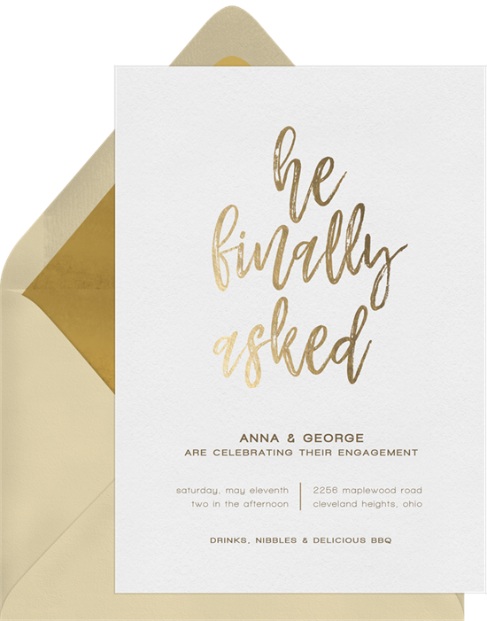 He Finally Asked engagement party invitations from Greenvelope