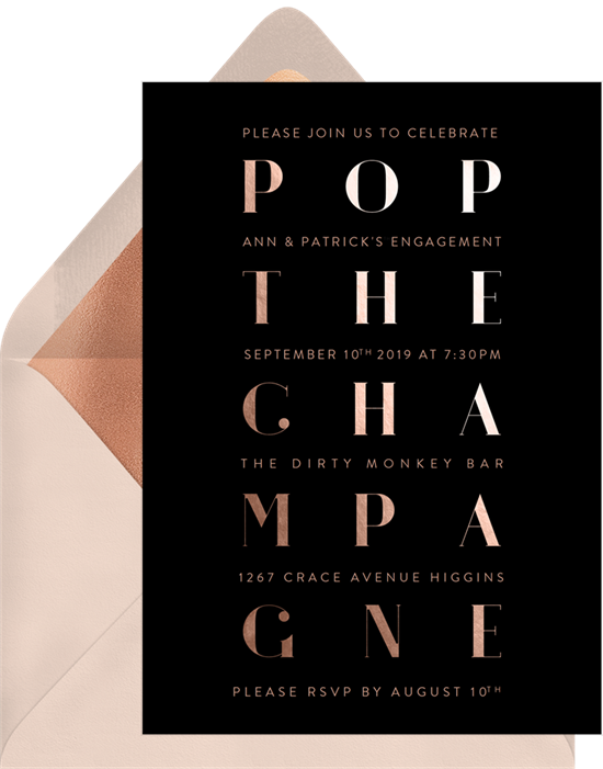 Champagne Grid engagement party invitation from Greenvelope