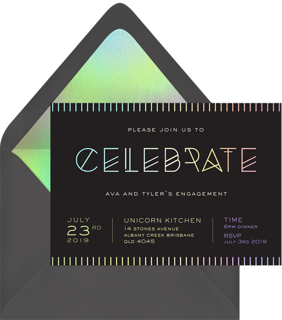 Mod Celebrate engagement party invitations from Greenvelope