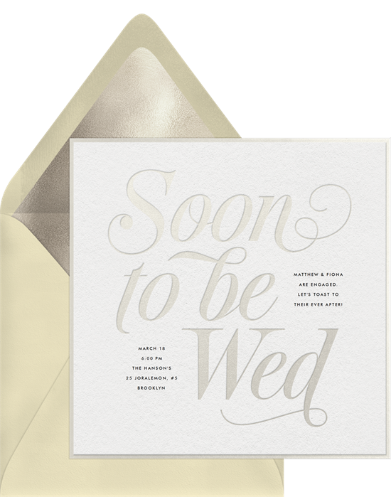 Soon to Be Wed engagement party invitation from Greenvelope
