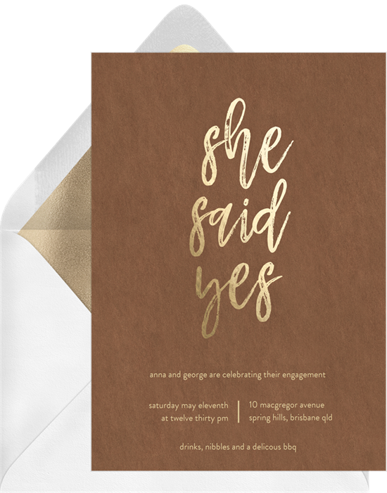 She Said Yes engagement party invitations from Greenvelope