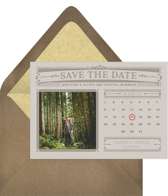 When to send save the dates: the Classic Calendar save the date design from Greenvelope
