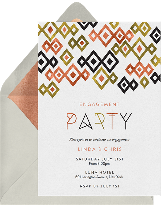 Diamond Drop engagement party invitations from Greenvelope