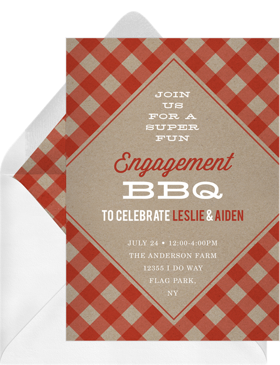 Trendy Gingham engagement party invitation from Greenvelope