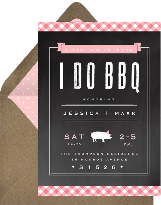 Gingham BBQ engagement party invitation from Greenvelope