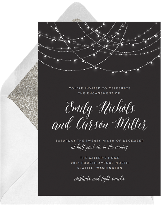 Sparkling String Lights engagement party invitations from Greenvelope