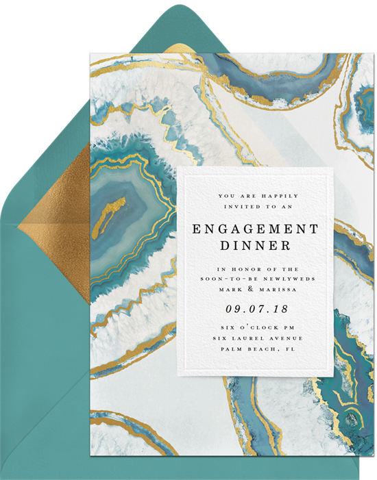 Agate Vellum engagement party invitation from Greenvelope