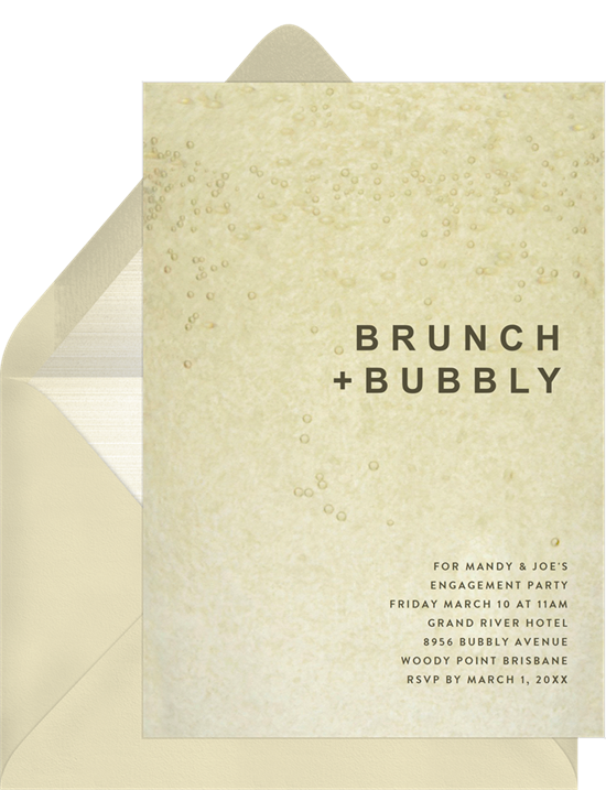 Bubbly engagement party invitation from Greenvelope