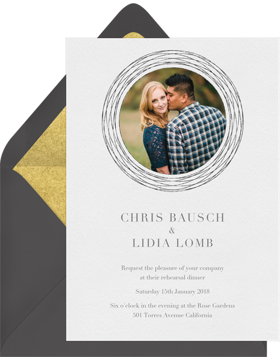 When to send rehearsal dinner invitations: A rehearsal dinner invitation