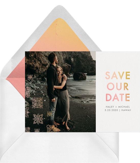 When to send wedding invitations: a save the date card