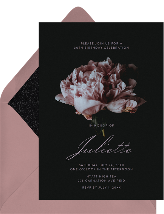 Tea party invitations: the Single Carnation invitation design from Greenvelope