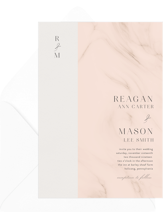 Faint Marble elegant wedding invitations from Greenvelope