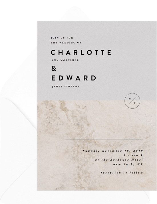 Chic Minimalist elegant wedding invitations from Greenvelope