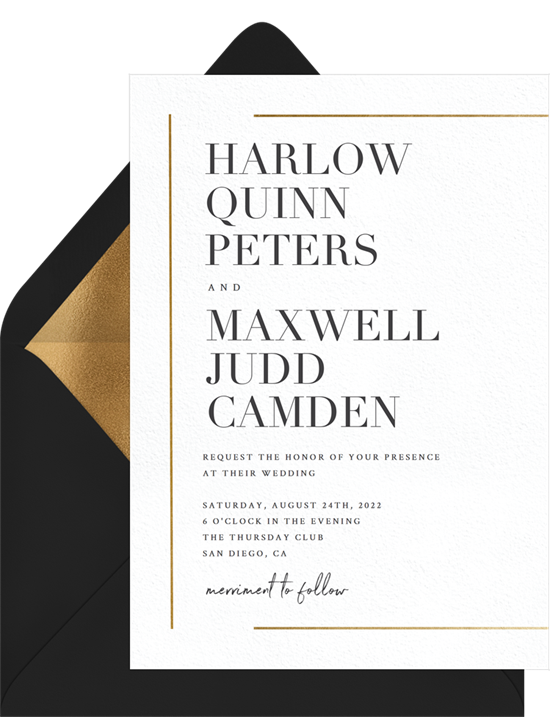 Gold Bar Accents elegant wedding invitations from Greenvelope