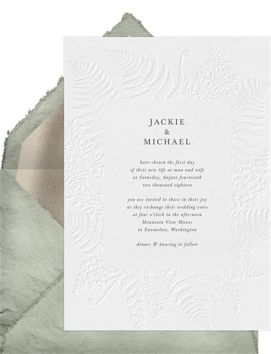 Simple Foliage elegant wedding invitations from Greenvelope