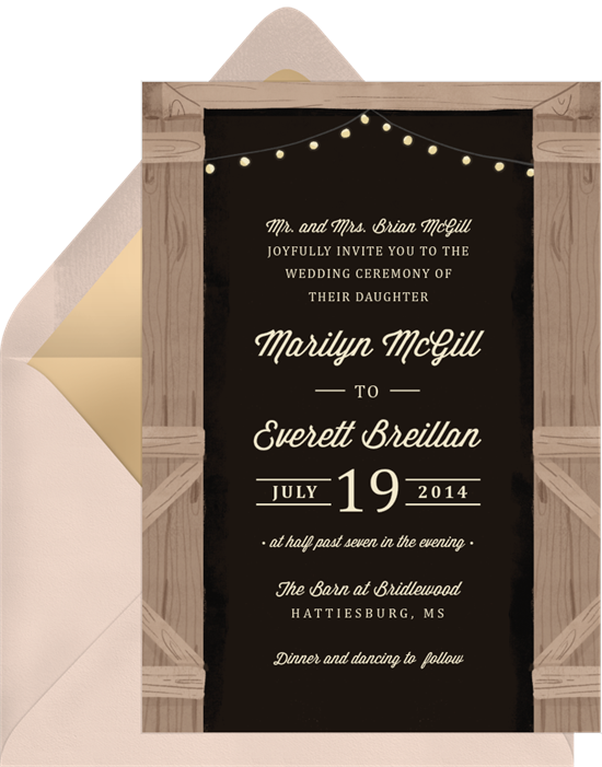 Rustic Evening wedding reception invitations from Greenvelope