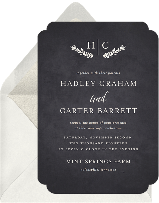 Rustic Charm wedding reception invitations from Greenvelope