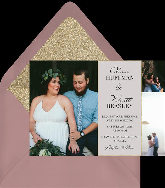 3 Photo Charm wedding reception invitations from Greenvelope