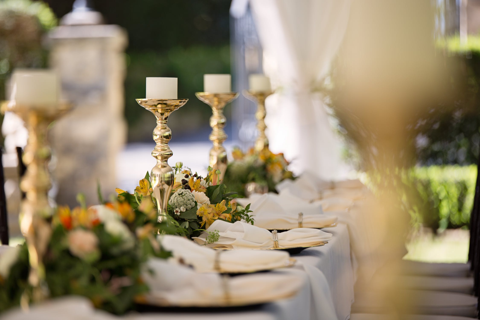 A table set for a wedding reception