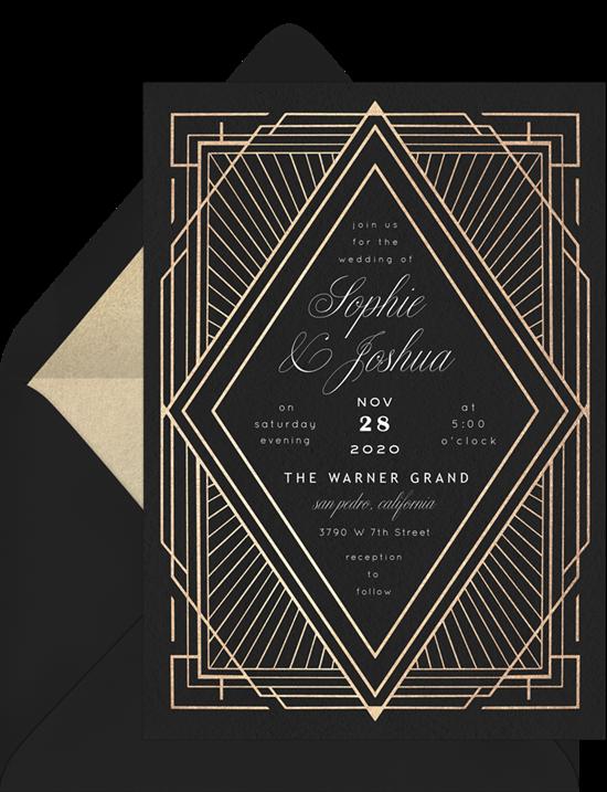 Art Deco Diamond wedding reception invitations from Greenvelope