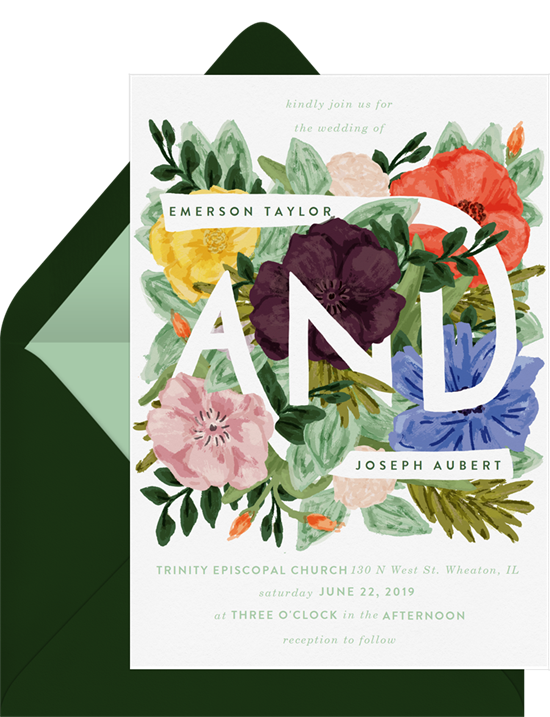 Layered Florals wedding reception invitations from Greenvelope