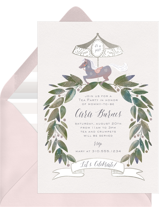 Tea party invitations: the Precious Carousel invitation design from Greenvelope