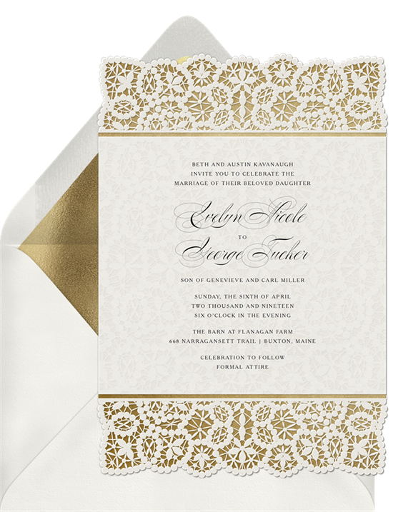 Luxurious Lace wedding invitations with RSVP