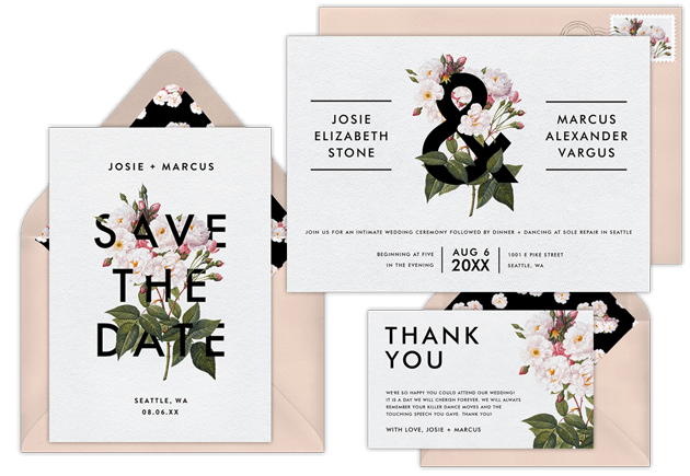 A suite of wedding invitations with RSVP and matching save the dates and thank you cards
