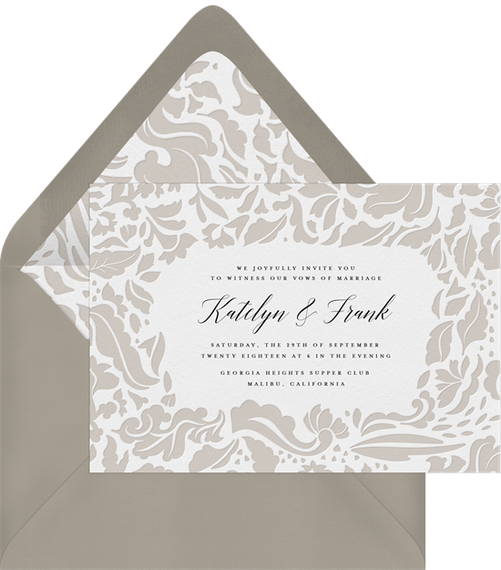 Sophisticated Damask wedding invitations with RSVP