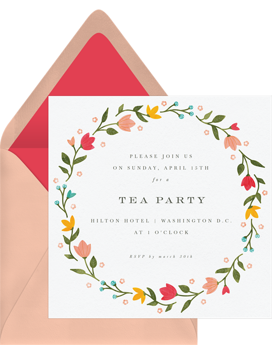 Tea party invitations: the Bright Spring Florals invitation design from Greenvelope