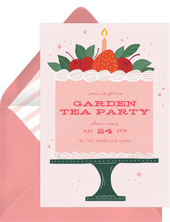 Tea party invitations: the Sweet Berry Cake invitation design from Greenvelope
