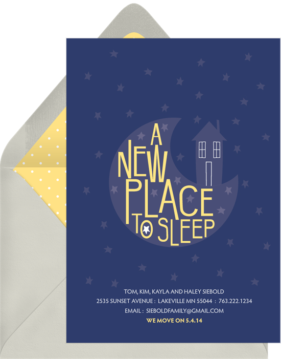 Goodnight Home housewarming party invitations from Greenvelope