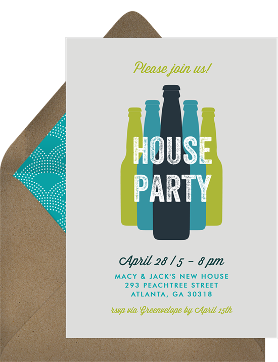 Bottled Happy Hour housewarming party invitations from Greenvelope