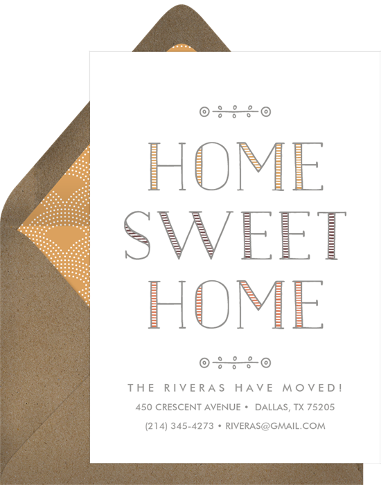 Home Sweet Home housewarming party invitations from Greenvelope