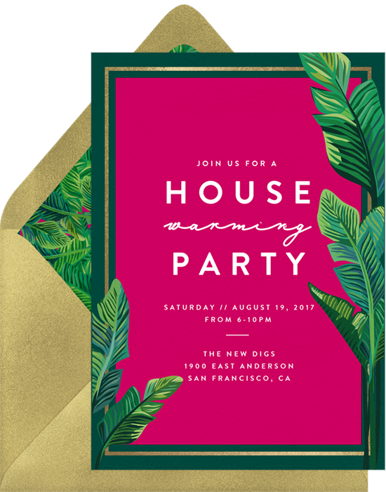 Welcome Palms housewarming party invitations from Greenvelope