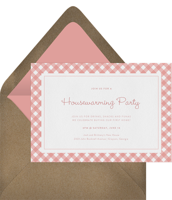 Cute Gingham housewarming party invitations from Greenvelope
