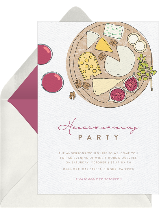 Cheese Board Dream housewarming party invitations from Greenvelope