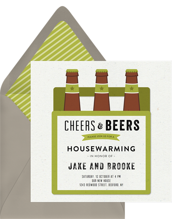 Cheers & Beers housewarming party invitations from Greenvelope
