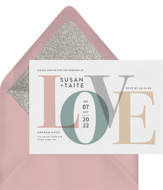 Funny wedding invitations with bold L-O-V-E graphics and a sparkly envelope liner