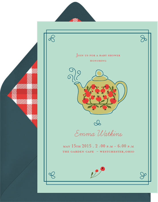 Tea party invitations: the Piping Pot invitation design from Greenvelope