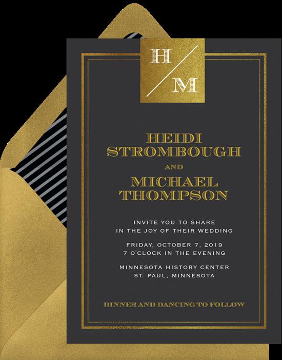 Sophisticated Monogram modern wedding invitations from Greenvelope