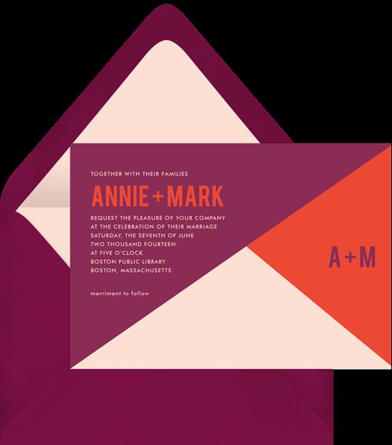 Color Slice modern wedding invitations from Greenvelope
