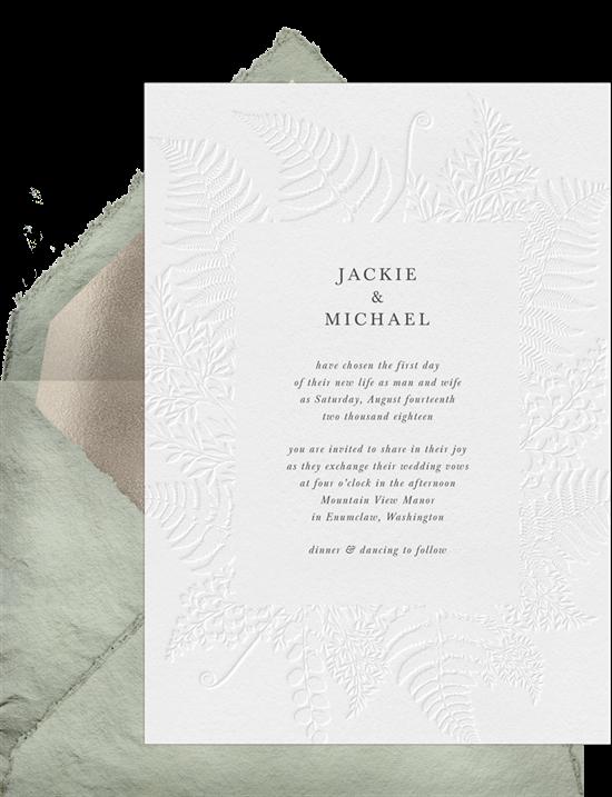 Simple Foliage modern wedding invitations from Greenvelope