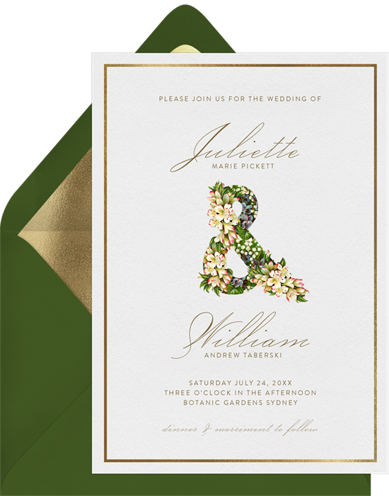 The Floral Ampersand all-in-one wedding invitations from Greenvelope