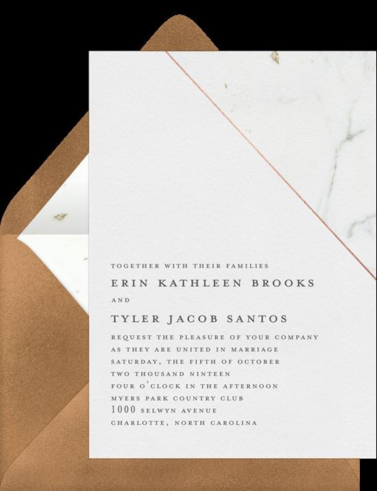 Marble Edge modern wedding invitations from Greenvelope